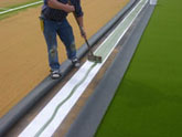 glue the synthetic turf seams
